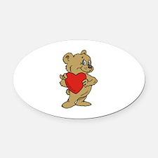 Bear Heart Oval Car Magnet