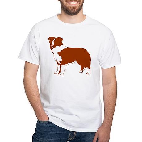 Red Border Collie White T-Shirt