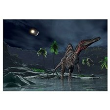 Spinosaurus witnessing a lunar impact