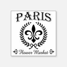 "PARIS FLOWER MARKET Square Sticker 3"" x 3"""