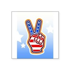 """peacefingers.png Square Sticker 3"""" x 3"""""""