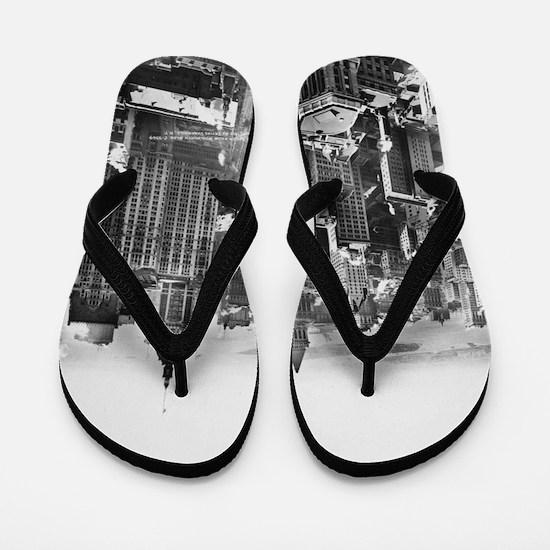 Vintage Lower Manhattan Skyscraper Phot Flip Flops