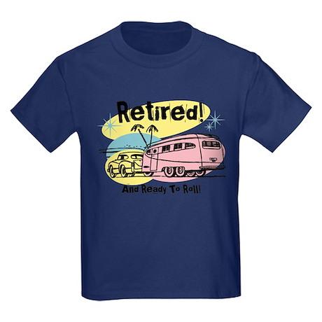Retro Trailer Retired Kids Dark T-Shirt