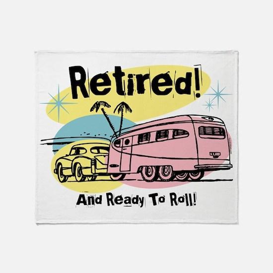 Retro Trailer Retired Throw Blanket