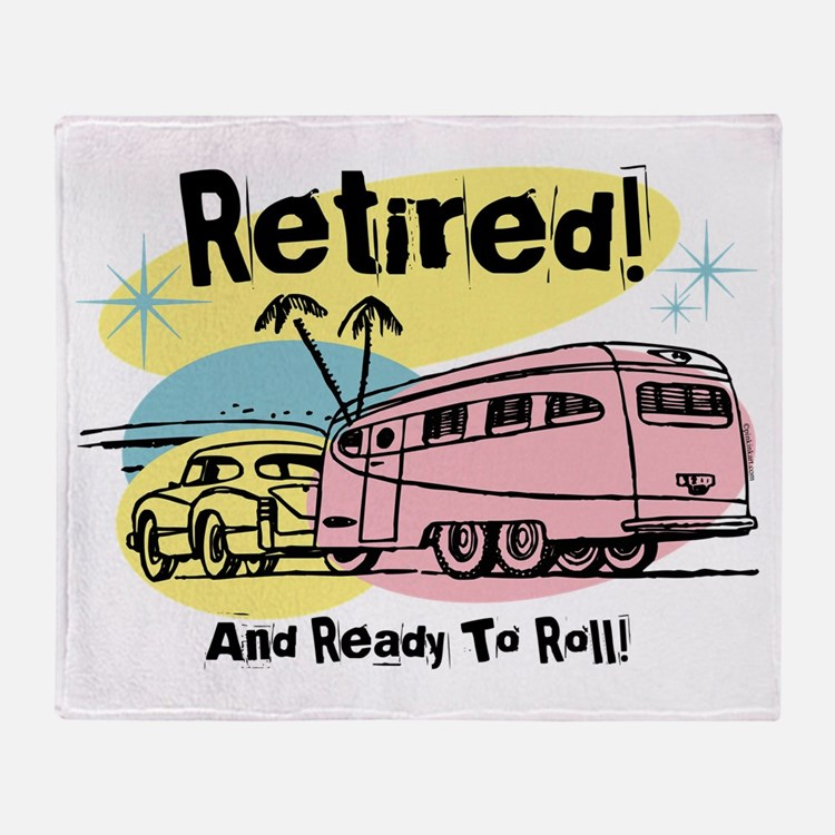 Retro Trailer Retired Throw Blanket