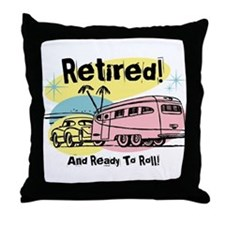 Retro Trailer Retired Throw Pillow