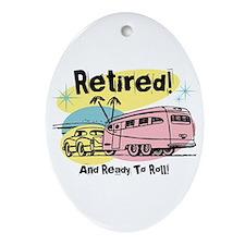 Retro Trailer Retired Ornament (Oval)