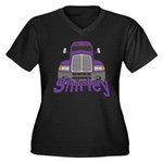 Trucker Shirley Women's Plus Size V-Neck Dark T-Sh