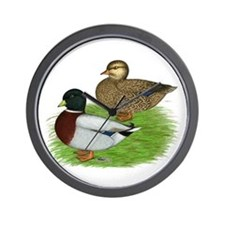 Grey Call Ducks Wall Clock