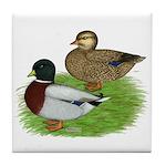 Grey Call Ducks Tile Coaster