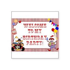 "Circus Birthday Square Sticker 3"" x 3"""