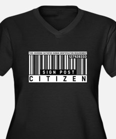 Sign Post Citizen Barcode, Women's Plus Size V-Nec
