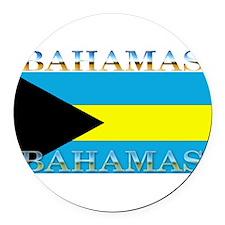 Bahamasblack.png Round Car Magnet