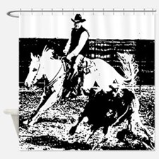 AFTM Quarter Horse working Shower Curtain