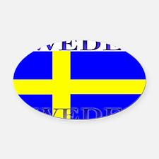 Swedenblack.png Oval Car Magnet