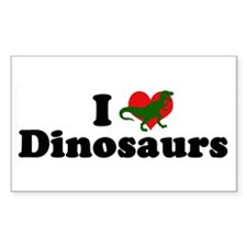 I Love Dinosaurs Rectangle Decal
