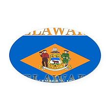 3-Delaware.png Oval Car Magnet