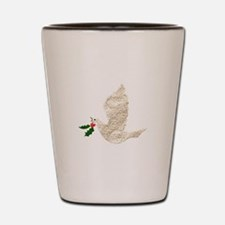 Christmas Dove With Holly Shot Glass
