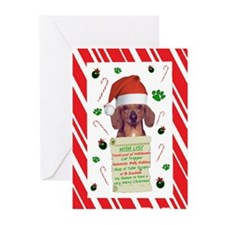 WishList -RecMag -Dachshund,Red Greeting Cards