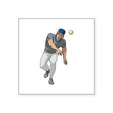 "Baseball Player Square Sticker 3"" x 3"""