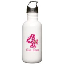 4th Birthday Butterfly Sports Water Bottle