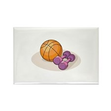 Basketball Weights Rectangle Magnet