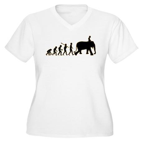 Elephant Riding Women's Plus Size V-Neck T-Shirt