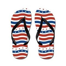 Wavy Stripes and Stars 4th of July Flip Flops