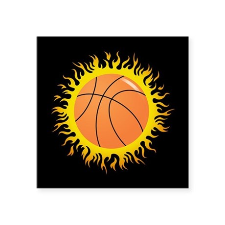 """Flaming Basketball Square Sticker 3"""" x 3"""""""