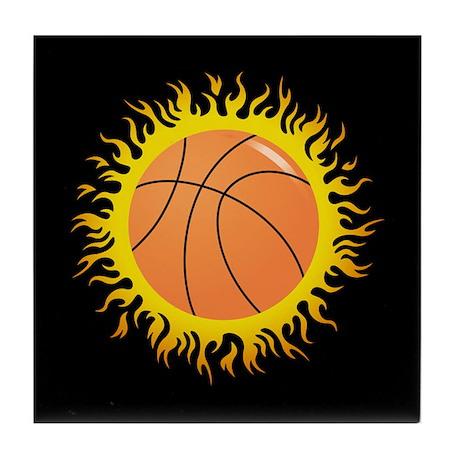 Flaming Basketball Tile Coaster