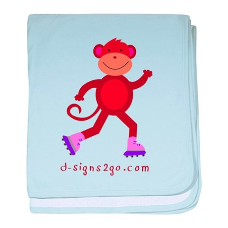 Monkey Skating baby blanket