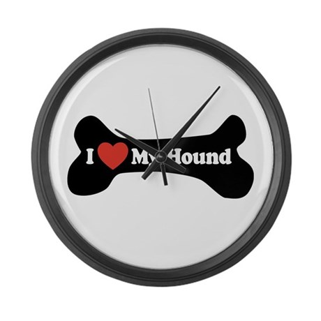 I Love My Hound - Dog Bone Large Wall Clock