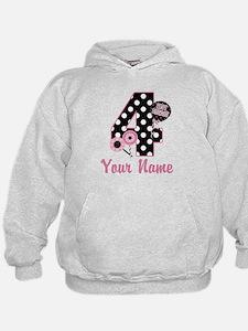 4th Birthday Pink Black Dot Hoodie