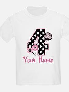 4th Birthday Pink Black Dot T-Shirt