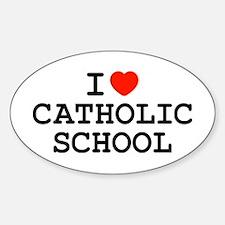 I Heart Catholic School Oval Decal