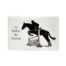 I'd Rather Be Riding Horse Rectangle Magnet