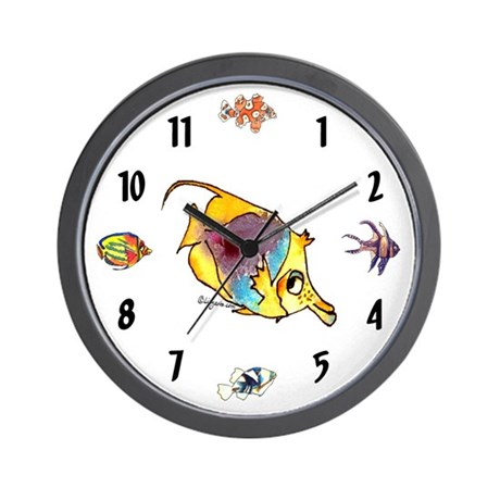 Funny cartoon fish wall clock by cartoon fish for Fish wall clock