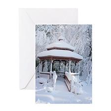 Gazebo surround by snow 7 Greeting Card