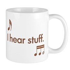 hear stuff brown Mugs