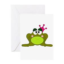 Frog Princess Pink Crown Greeting Card