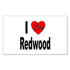 I Love Redwood Rectangle Decal
