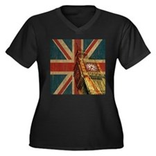 Vintage Union Jack Women's Plus Size V-Neck Dark T