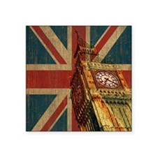 """Vintage Union Jack Square Sticker 3"""" x 3"""""""