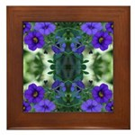 Blue Flower Reflection Framed Tile