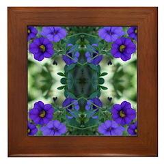 Blue Flower Reflection Framed Tile