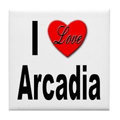 I Love Arcadia Tile Coaster