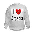I Love Arcadia (Front) Kids Sweatshirt