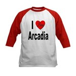 I Love Arcadia (Front) Kids Baseball Jersey