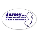 Jersey Sucking Dick Oval Sticker