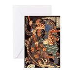 Miyamoto Musashi Fights Nue Greeting Cards (Packag